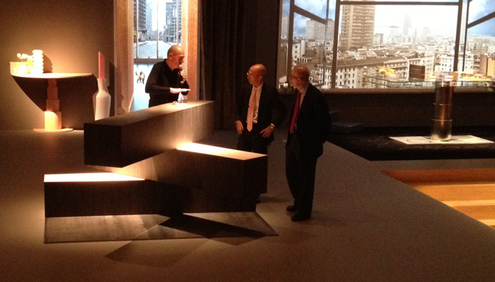 Rem Koolhaas, OMA partner, Andrew Cogan, Knoll CEO, and Benjamin Pardo, Knoll design director, with 04 Counter