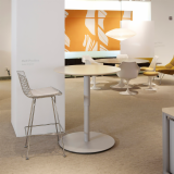Height Adjustable Table with Bertoia Barstool