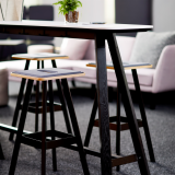 rockwell unscripted tall table easy stool adaptive planning neocon showroom 2017