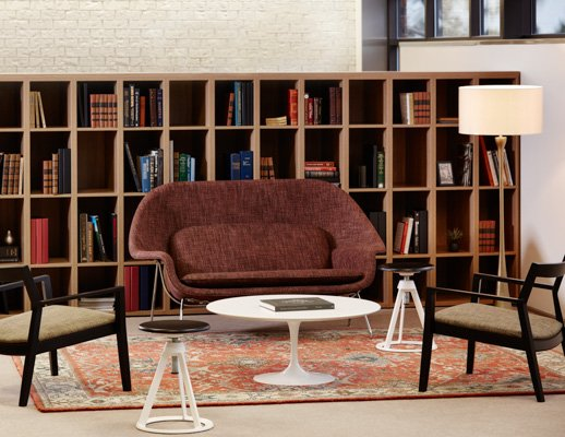 Knoll Essentials anchor storage open lockers Saarinen table Krusin lounge chair Womb settee Piton stool Saarinen Executive Armless chair Community Space Activity Space Library