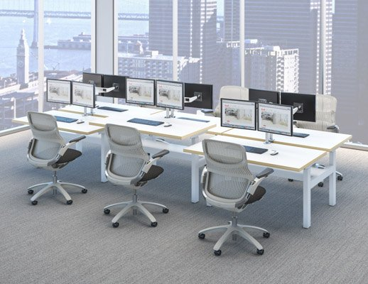 k. bench benching height adjustable desk generation by knoll well-being ergonomics group workstations
