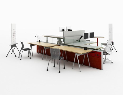 flexible collaborative break out panel spine based sit to stand adjustable height collaboration