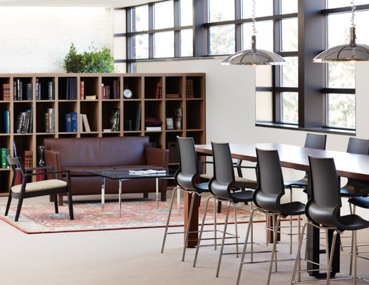 laminate fronts harvest table library meeting room activitity space bookcase cubby veneer collaboration