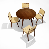 Risom Round Dining Table and webbed Risom side chairs