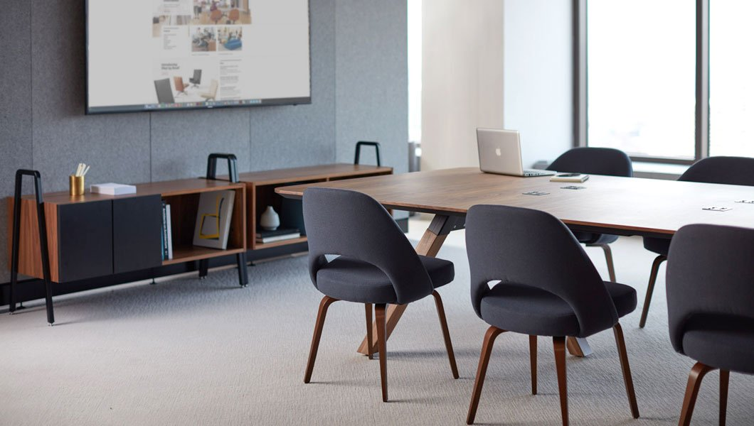 Knoll Shared Spaces Assembly Space with Rockwell Unscripted Library Table and Saarinen Executive Seating