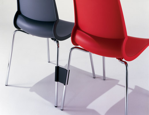 Knoll Red Gigi Stacking Chair Ganging Mechanism