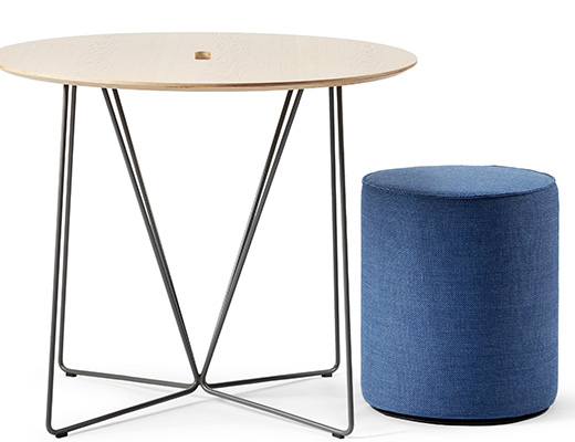 Rockwell Unscripted café table occasional table wire base upholstered seat swivel stool cylinder ottoman touchdown seat