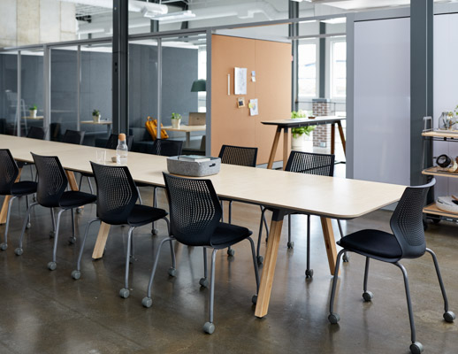 rockwell unscripted library table multigeneration by knoll muuto restore tray corky creative wall banquettes booths private niche portal room pass through tall table drink rail cork markerboard mobile storage hospitality team meeting