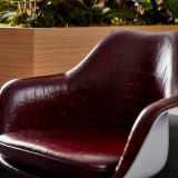 neocon 2018 hospitality at work tulip arm chair eero saarinen edelman leather crocodile