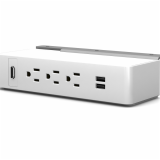 Table Undermount Electrical Outlet, 311, White Body/Silver Bracket
