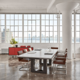 DatesWeiser Highline Fifty Conference Table with Power Data Drawers  Highline Twenty-Five Credenza  Saarinen Executive Arm Chair