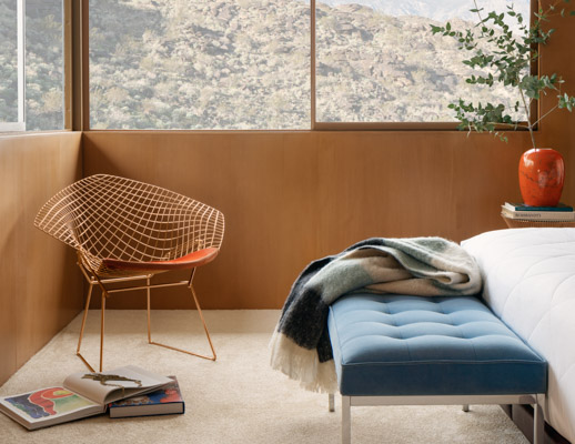 bertoia diamond chair gold metallics florence knoll relaxed bench bedroom knollstudio lounge chair