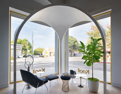 Los Angeles Home Design Shop with Saarinen Womb Chair & Ottoman, Platner Stool, and Saarinen Side Tables