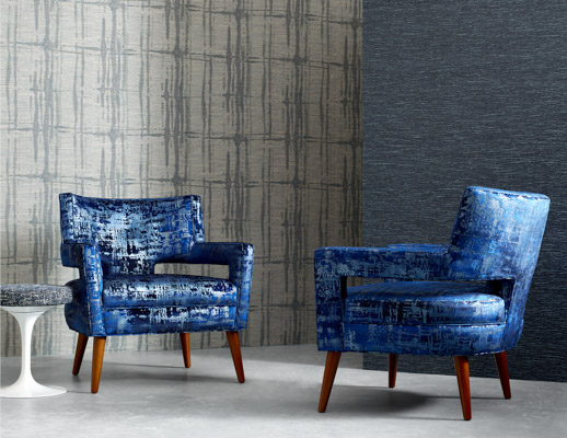KnollTextiles renaissance collection metallic sheen screen printed Chiseled 90000 double rubs high performance luxurious hospitality specialty wallcovering Quarry upholstery blue pattern texture large-scale organic paper backing paper backed