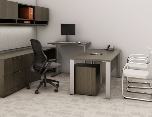Knoll Sit to Stand Tone Height-Adjustable Table with Reff Profiles Private Office