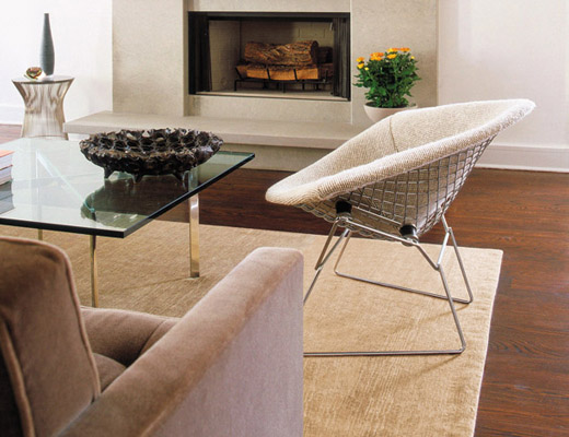 Jens Risom Amoeba Coffee Table and Suzanne Lounge Chair
