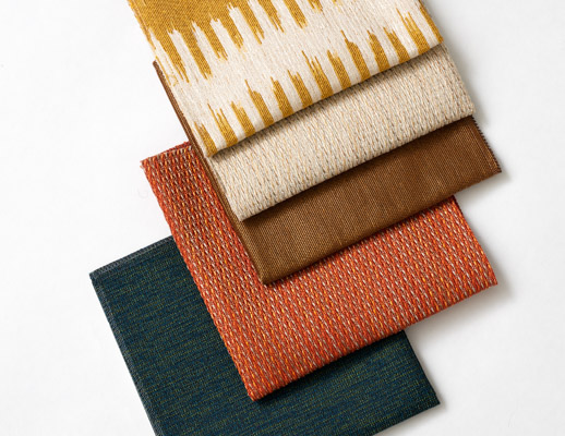 The Hallmark Collection KnollTextiles Cleo stripe Ikate-like stripe Calypso Fox Pumice Juno Crown Bonfire Overture Sonata polyester nylon recycled polyester high-performance multi-use Upholstery tri-colored novelty yarn acrylic recycled cotton