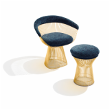 warren platner gold collection 50th anniversary 18k gold plate arm chair stool