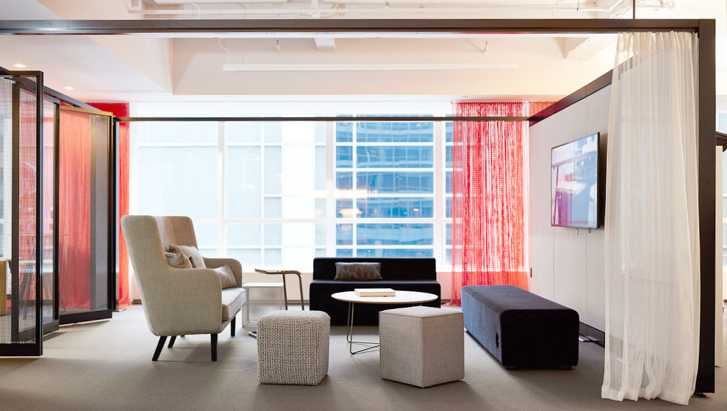 Knoll Shared Spaces Team Meeting with Rockwell Unscripted Creative Wall and Seating