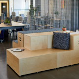 Rockwell Unscripted, upholstered steps, plywood steps, KnollTextiles drapery, Sawhorse Workbench, workstations, touchdown space, immersive planning, shared spaces, breakout space, commons space