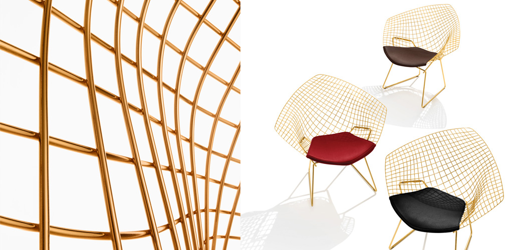 Knoll Bertoia Diamond Chair by Harry Bertoia in Gold