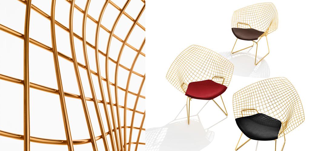 Knoll bertoia diamond chair by harry bertoia in gold