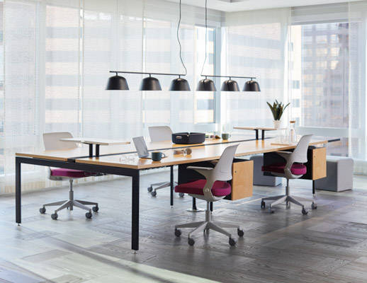 Antenna Big Table wide end leg suspended wood file pedestal storage cantilever shelf Birch plywood Ollo light task chair side chair k. lounge stool Muuto Ambit Rail lamp lighting Restore Basket tray accessories shared spaces collaboration team workstation