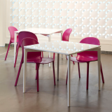 Stromborg Tables and Olivares Aluminum Side Chairs