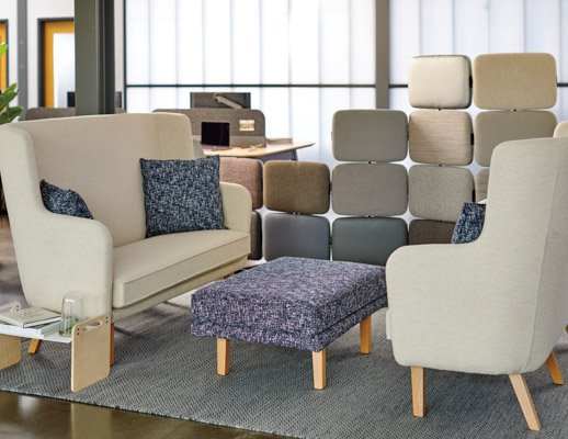 rockwell unscripted highback settee highback chair lounge modular lounge ottoman lap tray tell screens individual refuge enclave privacy screen space delineation muuto ply rug