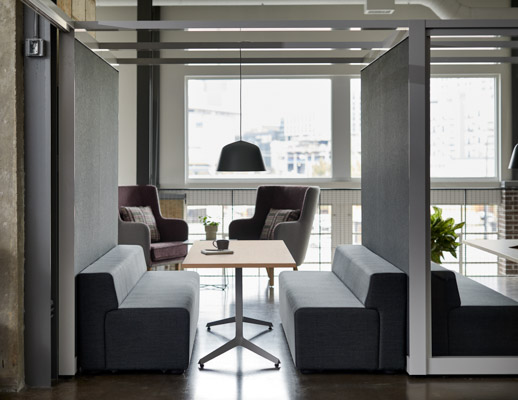 rockwell unscripted creative wall shared walls k. lounge bench with back dividends y base table highback chair lounge muuto ambit pendant lamp lighting booths banquettes