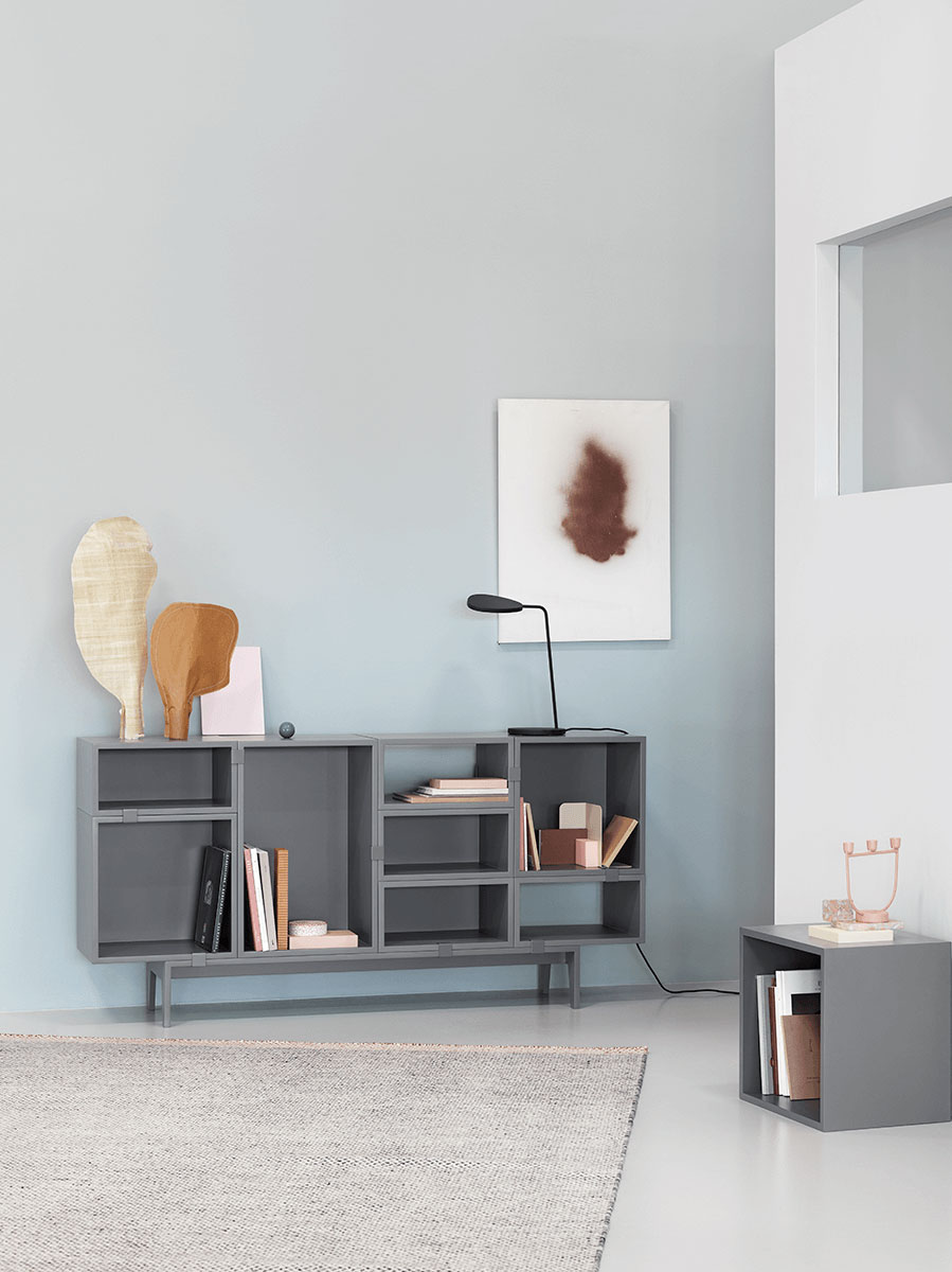 Muuto Stacked Storage with Leaf Table Lamp