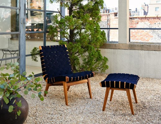 ... Risom Lounge Chair Ottoman Navy Sunbrella Webbing Teak Outdoor ...