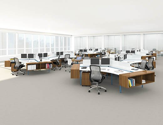 Knoll Antenna Workspaces Curbed Desktop for Open Plan
