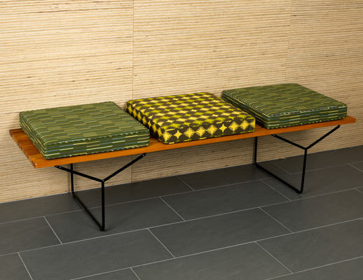 Balance Essence Wit March 2016 Pattern Green Yellow Upholstery Bertoia Bench
