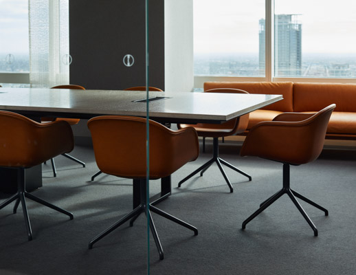 DatesWeiser Highline Conference Table Muuto Fiber Chair armchair swivel base Muuto Outline Sofa Saarinen side table conference room meeting space shared spaces