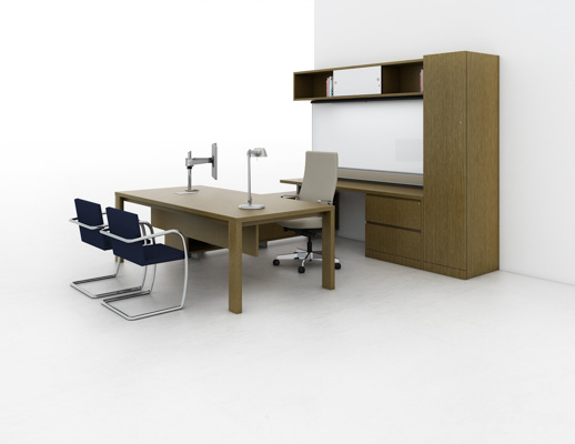 Reff Profiles private office progressive overhead table with 2x4 legs wardrobe cabinet white board credenza