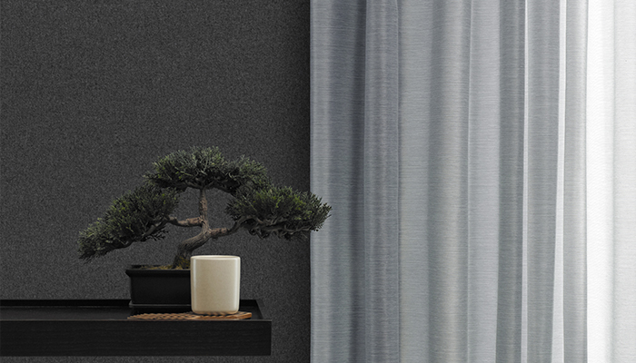 Noren Drapery next to Calm Wallcovering