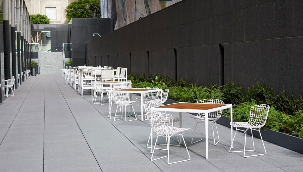 Knoll Shared Spaces Community Space Outdoors with 1966 Dining Tables and Chairs
