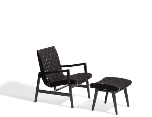 Risom Ottoman Carbon Sunbrella Webbing Ebonized Frame outdoor lounge chair