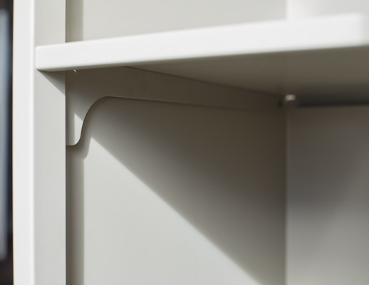 Quoin metal storage locker hinge hinged door shelf support reverse cantilever bracket detail