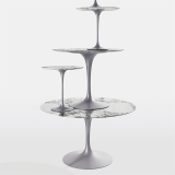 Saarinen Tulip Tables in Arabescato Marble and Platinum finish base