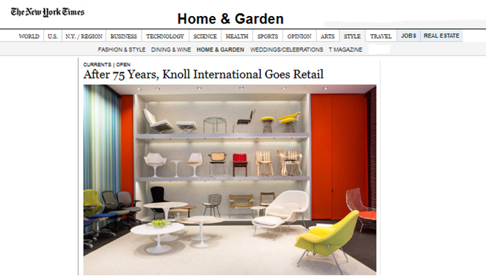 The New York Times Announces June 13 Knoll Home Design Store