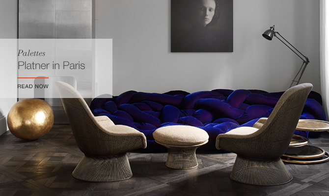 Platner Easy Chairs and Ottoman facilitate conversation in Saint-Germain-des-Prés.