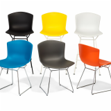 Bertoia Molded Shell Shell Side Chair Barstool Chrom Black White base