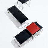 Marcel Breuer Laccio Tables in red and black