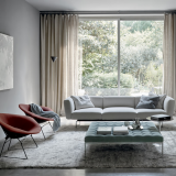 Avio Compact Sofa, Bertoia Diamond Chair, Saarinen Side Table Florence knoll relaxed square bench