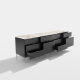 Florence Knoll credenza in ebonized oak with white marble top