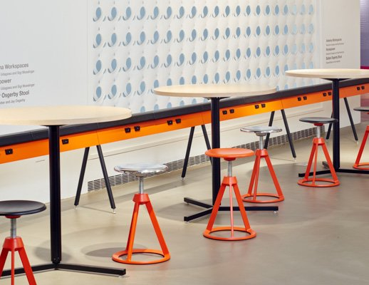 NeoCon 2015 Antenna Design Horsepower Barber Osgerby Adjustable Height Stool Antenna Table Y-Base Round showroom