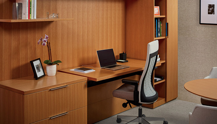 Reff Profiles™ Height Adjustable Workwall with Remix High Back Task Chair