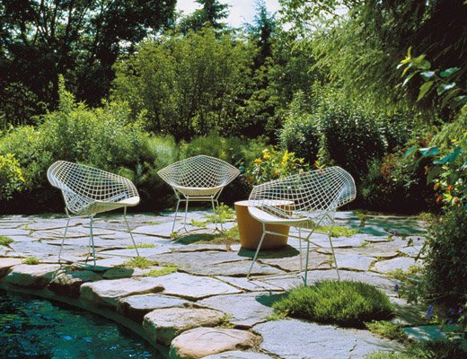 Bertoia Diamond Chair and Maya Lin Stones for outdoor use